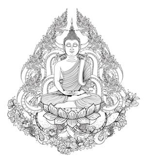 Tatuagem arte de buda e desenho e esboço de mão tailandês dargon