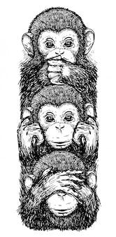 Tatuagem arte desenho macacos, orelhas fechadas, olhos fechados, boca fechada preto e branco
