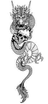 Tatuagem, arte, dragão, mosca, desenho, mão, desenho, preto e branco