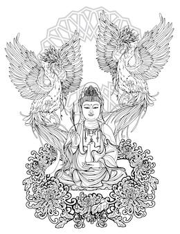 Tatuagem arte guan yin china design e cisne desenho e esboço