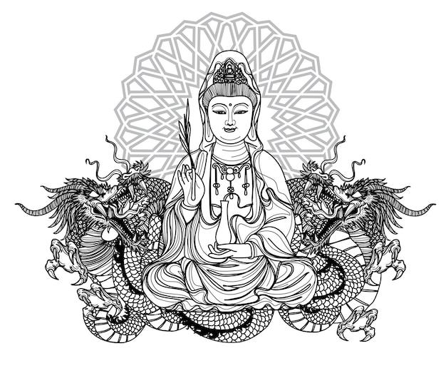 Tatuagem arte guan yin china design e dragão mão desenho e esboço