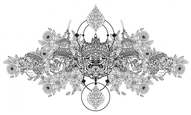 Tatuagem arte mão gigante de desenho e desenho preto e branco