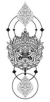 Tatuagem arte mão gigante de desenho e esboço preto e branco com