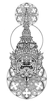 Tatuagem arte mão gigante de desenho e esboço preto e branco