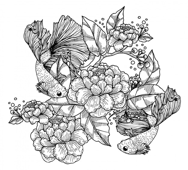 Tatuagem arte peixes siameses e flor de combate