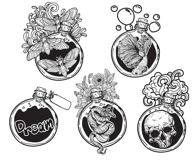 Tatuagem arte redonda garrafa de vidro embalagem coisas com ilustração de arte de linha isolada