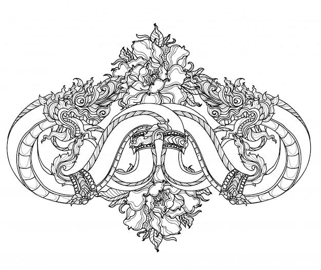 Tatuagem arte tailandesa snake padrão literatura mão desenho esboço