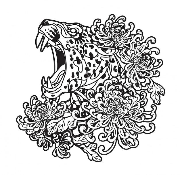 Tatuagem, arte, tigre, mão, desenho, e, esboço, preto branco, com, linha arte, ilustração, isolado