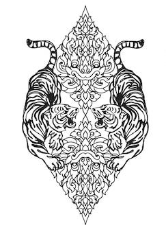 Tatuagem, arte, tigre, mão, desenho, e, esboço, preto branco
