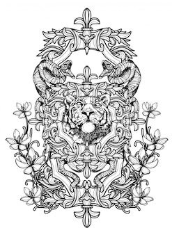 Tatuagem arte tigre mão desenho preto e branco