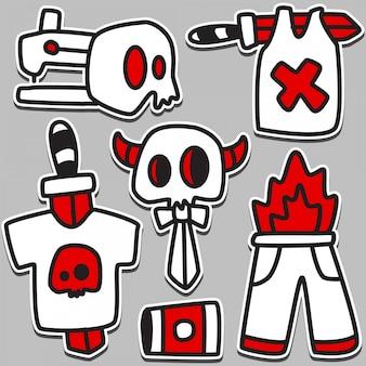 Tatuagem caveira bonito doodle design ilustração
