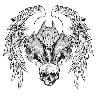Tatuagem, caveira, e, asas, mão, desenho