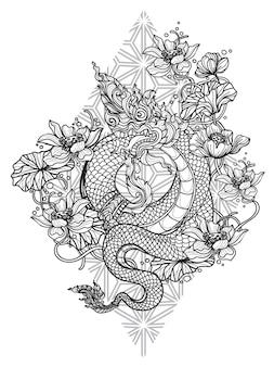 Tatuagem com a mão da flor do dragão tailandês desenhando e esboçando em preto e branco