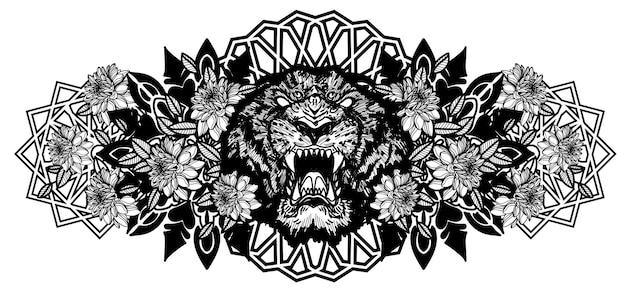 Tatuagem com a mão do tigre desenhando e desenhando em preto e branco