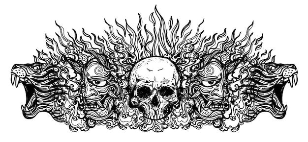 Tatuagem com máscara de diabo de caveira e desenho de tigre em preto e branco