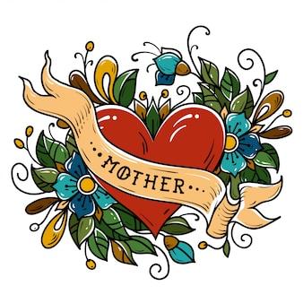 Tatuagem coração vermelho decorado fita com a palavra mãe