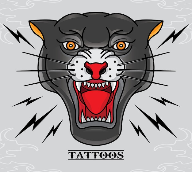 Tatuagem da pantera preta velha escola