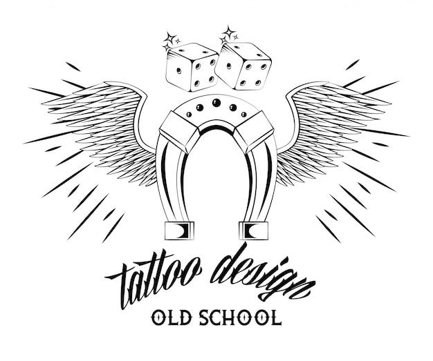 Tatuagem da velha escola com desenho de ferradura