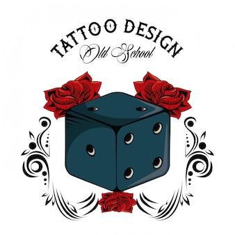 Tatuagem da velha escola com design de desenho de dados