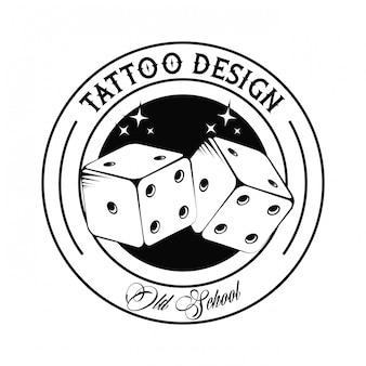 Tatuagem da velha escola com dices desenho