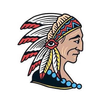 Tatuagem da velha escola do guerreiro de apache