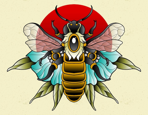 Tatuagem de abelha neo tradicional