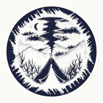 Tatuagem de acampamento e viagem