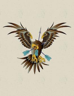 Tatuagem de águia neo tradicional