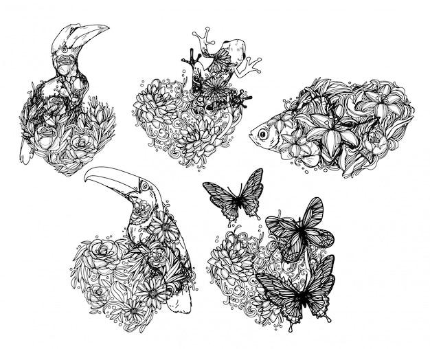 Tatuagem de animais selvagens tropicais desenhando e esboçando em preto e branco