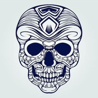 Tatuagem de arte decorativa linha de caveira