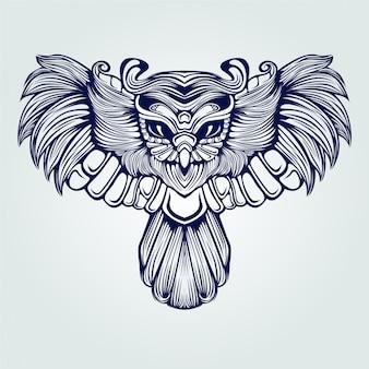 Tatuagem de arte linha coruja voadora