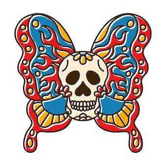 Tatuagem de borboleta cabeça de crânio