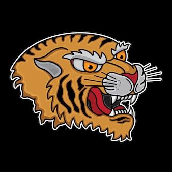 Tatuagem de cabeça de tigre tradicional