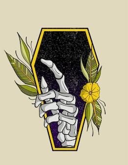 Tatuagem de caixão velha escola