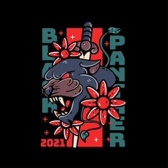 Tatuagem de camiseta com ilustração de pantera negra