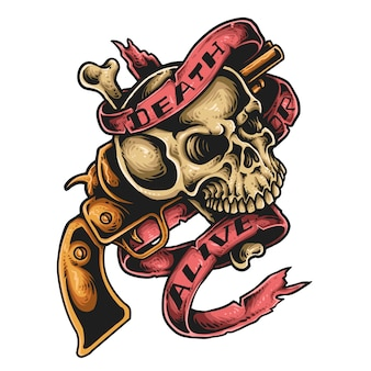 Tatuagem de caveira e arma