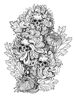 Tatuagem de caveira e flor de mão desenhando e desenhando em preto e branco