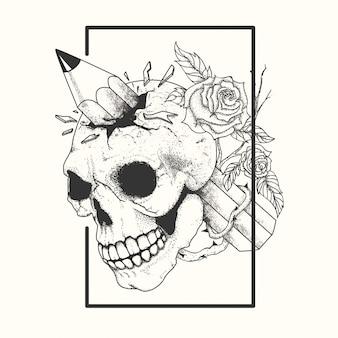 Tatuagem de caveira preto e branco
