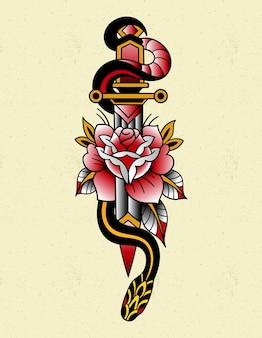 Tatuagem de cobra com faca tradicional