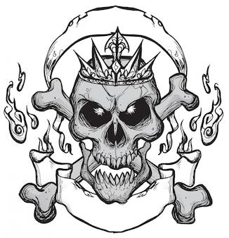 Tatuagem de emblema de caveira