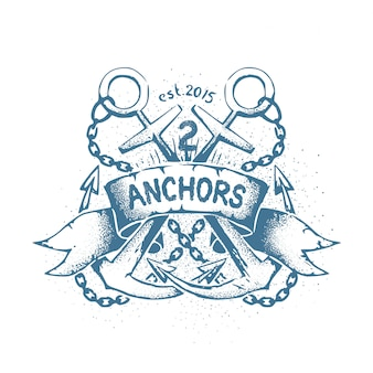 Tatuagem de emblema gasto descuidado com duas âncoras cruzadas