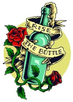 Tatuagem de garrafa de licor