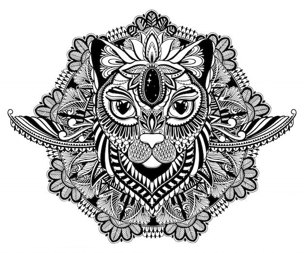 Tatuagem de gato místico e mandala