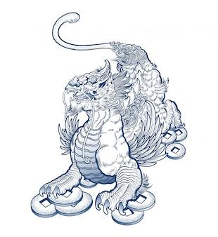 Tatuagem de grifo mítico assustador
