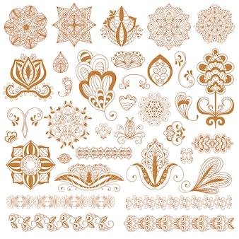 Tatuagem de henna mehndi conjunto de flores