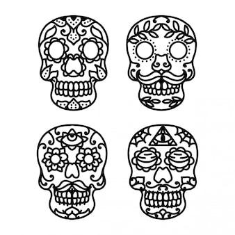 Tatuagem de linha de crânio de açúcar