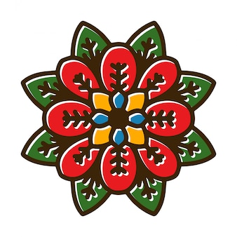 Tatuagem de mandala de flor