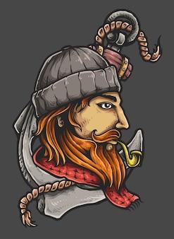 Tatuagem de marinheiro com âncora e tubulação
