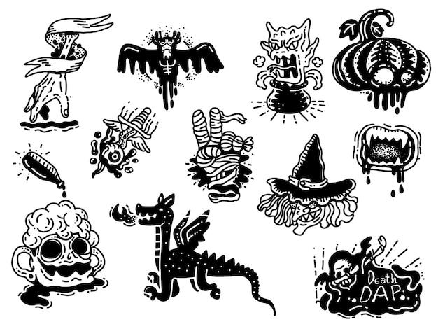 Tatuagem de monstro doodle