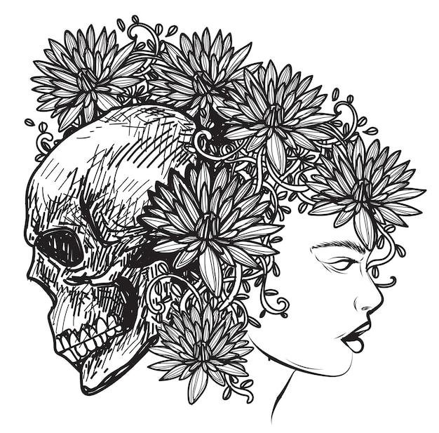 Tatuagem de mulheres com flores e caveira desenhando esboço preto e branco